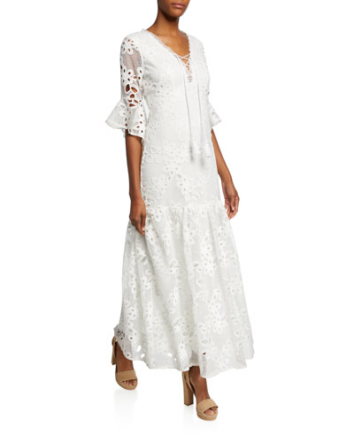 Lace-Up Floral-Lace Elbow-Sleeve Maxi Dress
