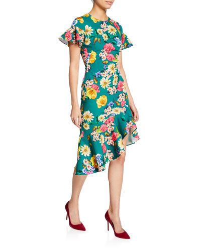 Breelle Floral-Print Flutter-Sleeve Asymmetric Flounce Dress