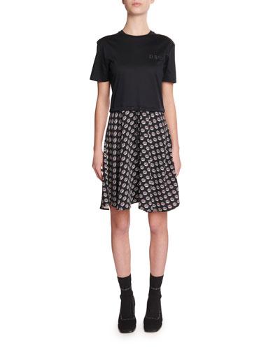 Mixed-Media Woven T-Shirt Dress