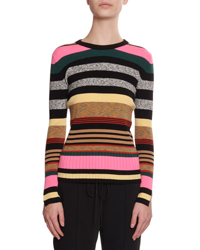 Multicolor Striped Crewneck Sweater