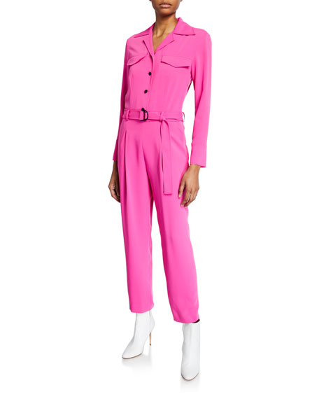 Kenzo Belted Long-Sleeve Jumpsuit