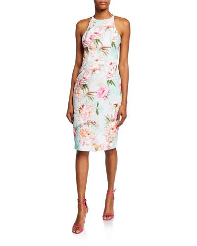 Montego Floral-Printed Sleeveless Sheath Dress