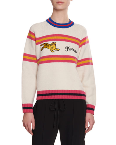 Jumping Tiger Striped Wool Sweater