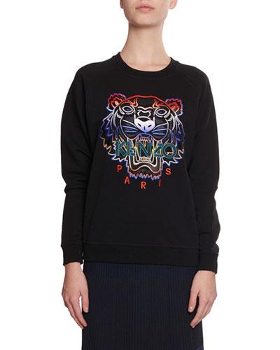 Gradient Tiger Logo Pullover Sweatshirt