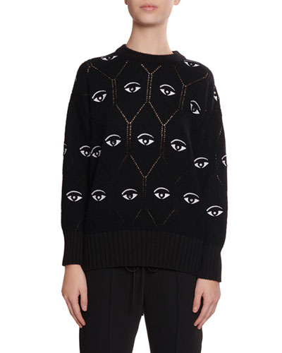 Embroidered Eye Pointelle Pullover Sweater