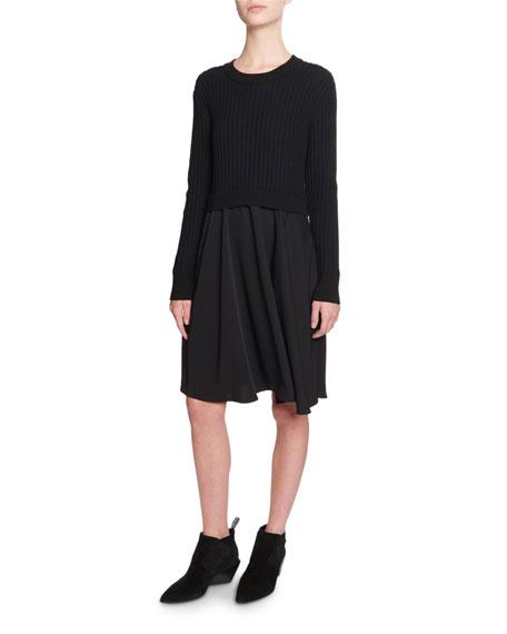Kenzo Mixed-Knit Long-Sleeve Dress