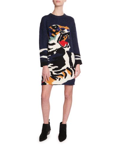 Tiger Intarsia Sweater Dress