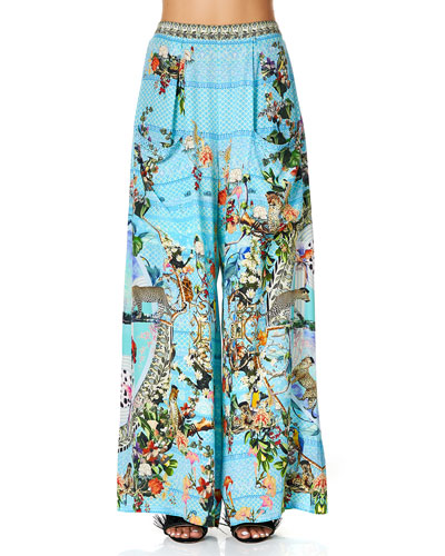 Printed Wide-Leg Coverup Trousers