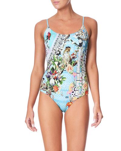 Printed Round-Neck One-Piece Swimsuit