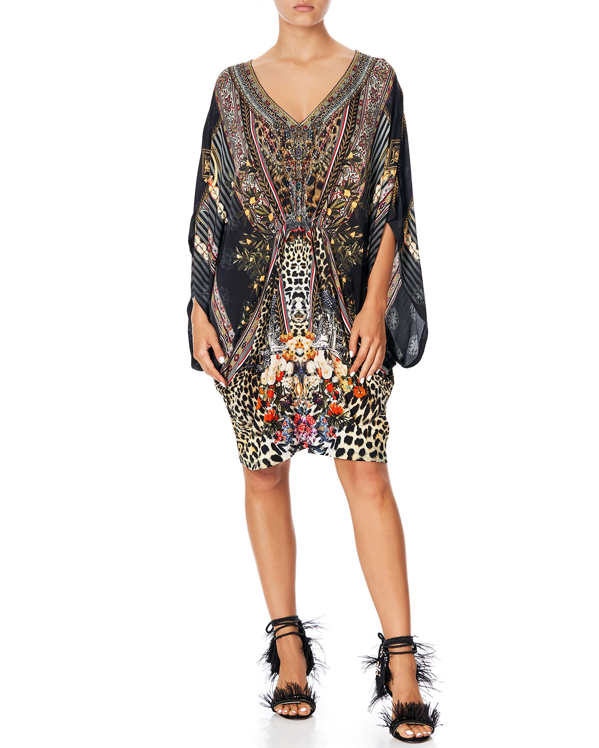 Camilla Dresses BAT-SLEEVE PRINTED DRESS W/ GATHERED WAIST