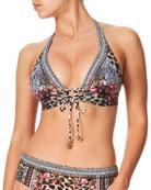 Camilla Lace-Up Halter Bikini Top with Pintuck Band