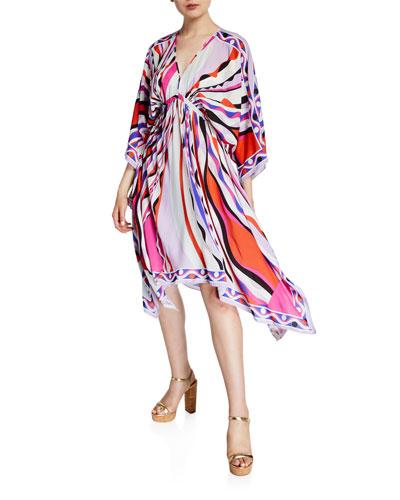 Printed 3/4-Sleeve V-Neck Dress