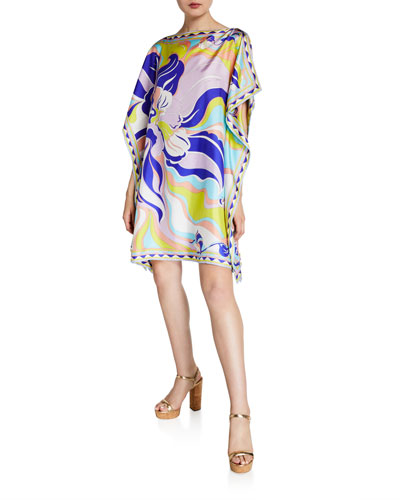 Boat-Neck Printed Silk Short Dress