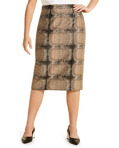 Plus Size Casanova Snake-Print Pencil Skirt