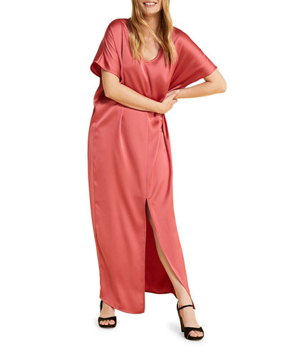 Plus Size Domanda Short-Sleeve Satin Maxi Dress with Slit
