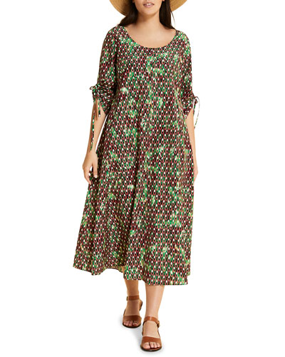 Plus Size Dispensa Printed Scoop-Neck Elbow-Sleeve Dress