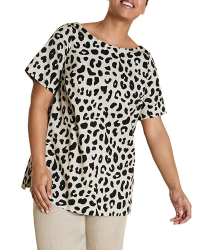 Plus Size Fregio Animal-Print Short-Sleeve Top