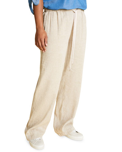 Plus Size Responso Wide-Leg Drawstring Pants