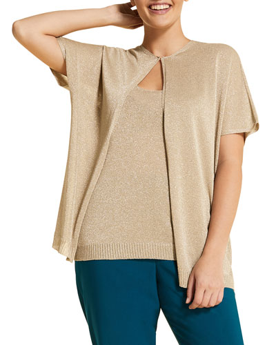 Urlo Metallic Shell & Short-Sleeve Cardigan Two-Piece Set