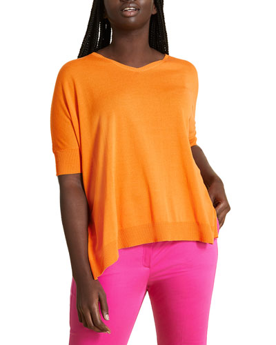 Plus Size Aereo V-Neck Short-Sleeve Sweater, Orange