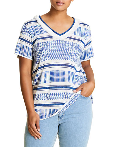 Plus Size Aiaccio Metallic Striped V-Neck Short-Sleeve Sweater