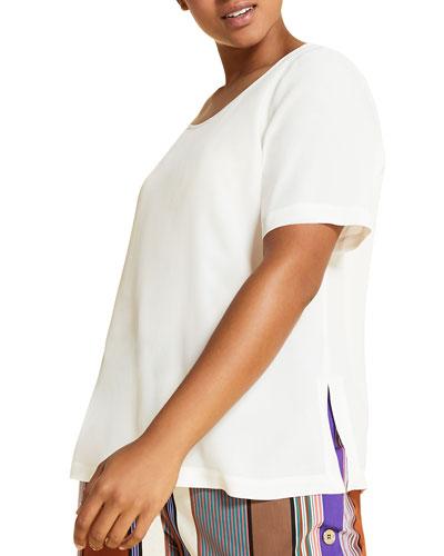 Plus Size Bernini Short-Sleeve Side-Slit Top