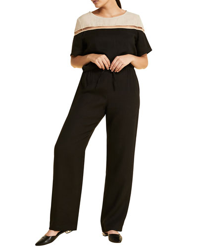 Plus Size Rendere High-Rise Wide-Leg Drawstring Pants