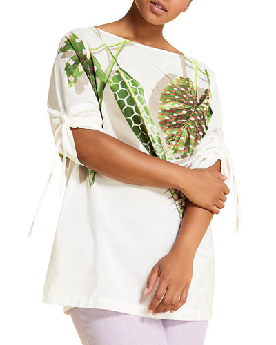 Plus Size Filare Leaf-Print 3/4-Sleeve Top