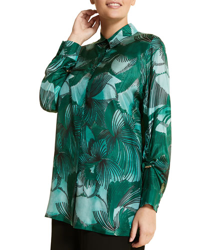 Plus Size Fiorenza Printed Button-Front Long-Sleeve Silk Top
