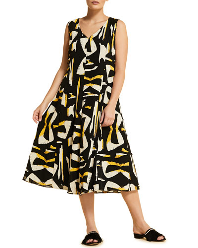 Plus Size Docile Printed V-Neck Sleeveless Midi Dress