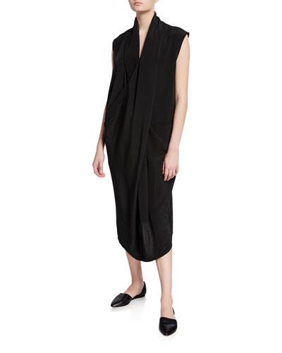 Plus Size Cowl-Neck Sleeveless Overlap Dress