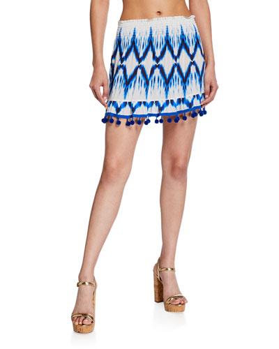Stevie Ikat-Printed Pom-Pom Mini Skirt