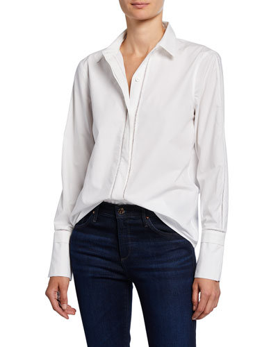 Aamber Button-Front Cotton Blouse