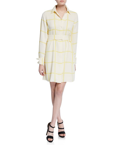 Edwidge Grid-Print Long-Sleeve Shirtdress