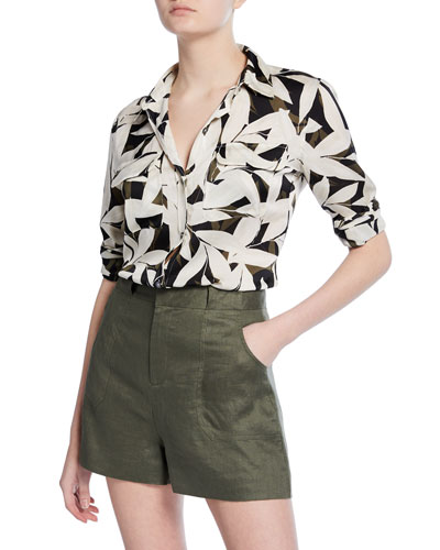 Slim Signature Leaf-Printed Button-Down Blouse