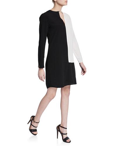 Claudine Colorblock Long-Sleeve Keyhole Dress