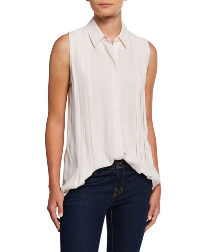 Melisande Button-Down Sleeveless Pleated Blouse