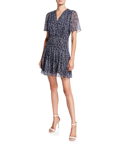 Lisle Printed V-Neck Short-Sleeve Dress