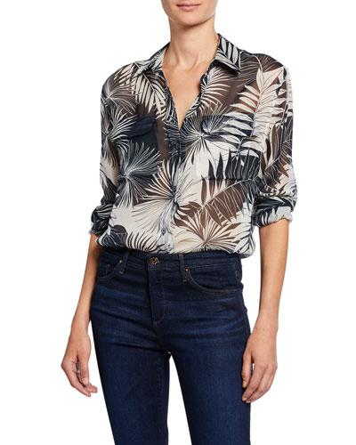 Signature Leaf-Print Button-Down Silk Shirt