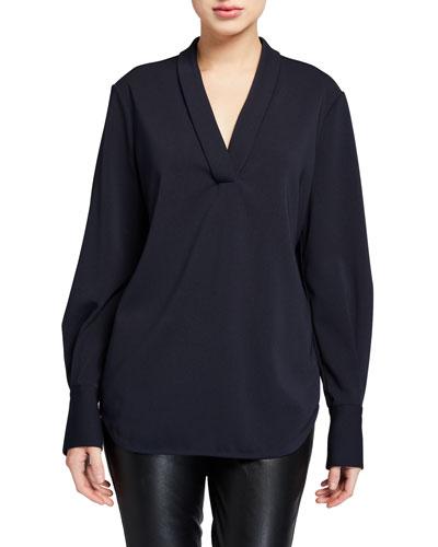 Charlina V-Neck Long-Sleeve Shirttail Blouse