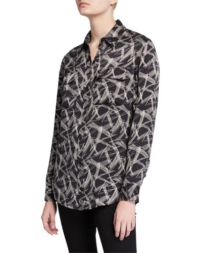 Signature Button-Down Long-Sleeve Printed Silk Shirt
