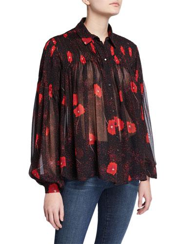 Jaslyn Floral Button-Down Long-Sleeve Silk Top