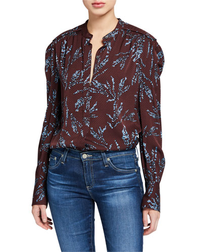 Garion Printed Button-Down Blouse