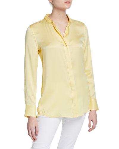 Oranne Button-Front Long-Sleeve Satin Blouse