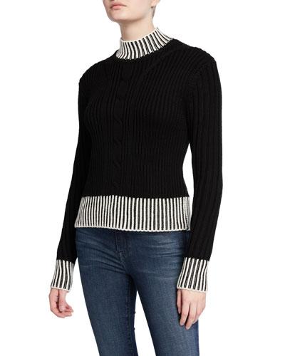 Alyonne Mock-Neck Wool Sweater