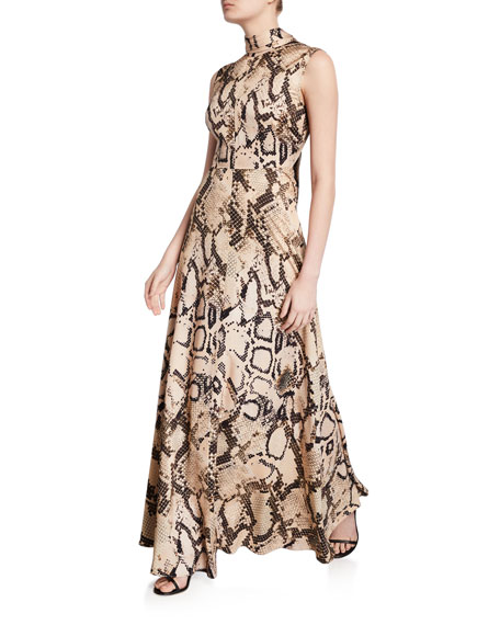 Solace London Rhoda Snake-Print Tie-Neck Maxi Dress