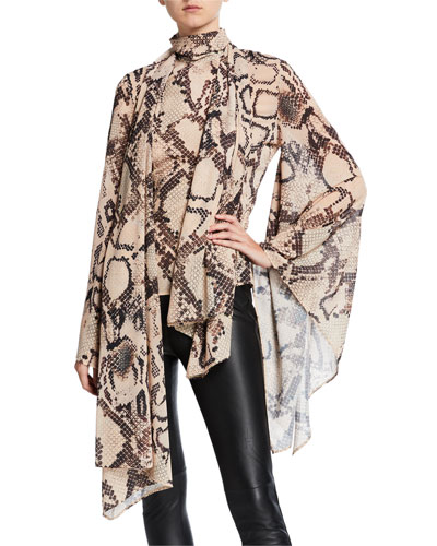 Ali Tie-Neck Snake-Print Long-Sleeve Top