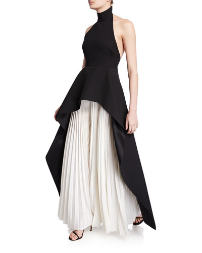 Lavinia High-Neck Pleated Peplum Maxi Dress
