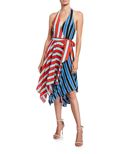 Canton Colorblock Striped Handkerchief Halter Dress