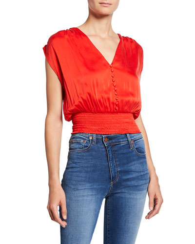 Lorretta Smocked Sleeveless Silk Satin Crop Top
